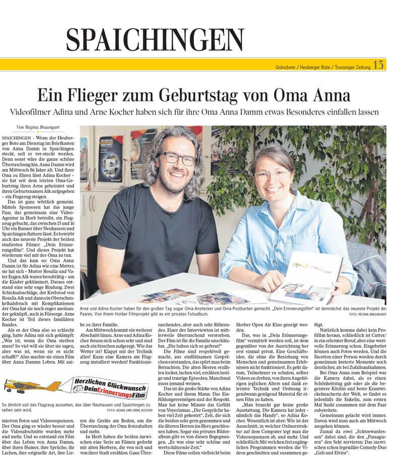 #omahebtab in der Schwäbischen Zeitung Spaichingen